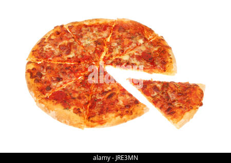 Margherita pizza with a slice cut out isolated against white - Stock Photo