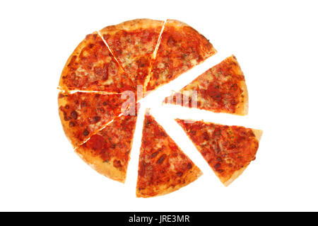 Slices of Margherita pizza isolated against white - Stock Photo