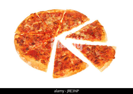 Sliced Margherita pizza isolated against white - Stock Photo