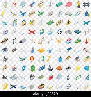 100 aeroplane icons set, isometric 3d style - Stock Photo