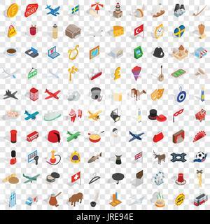 100 border icons set, isometric 3d style - Stock Photo