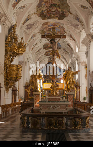 Austria, West Tyrol, Stams Monastery, nave,  Cistercian Stams Abbey (Stift Stams), founded in 1273 by Count Meinhard - Stock Photo