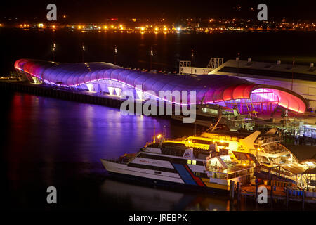 Colourful lighting on 'The Cloud' events building, Queens Wharf, Auckland, North Island, New Zealand - Stock Photo