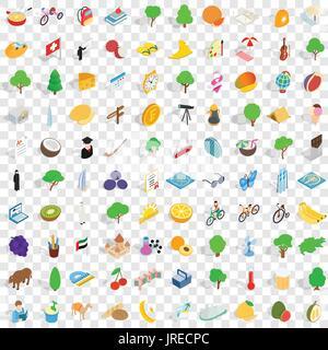 100 peace icons set, isometric 3d style - Stock Photo