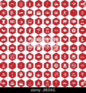 100 yoga studio icons hexagon red - Stock Photo