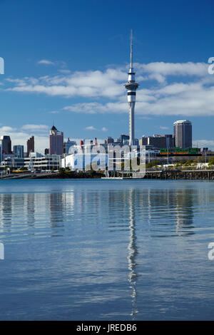 Sky Tower and Auckland CBD, St Marys Bay, Auckland, North Island, New Zealand - Stock Photo