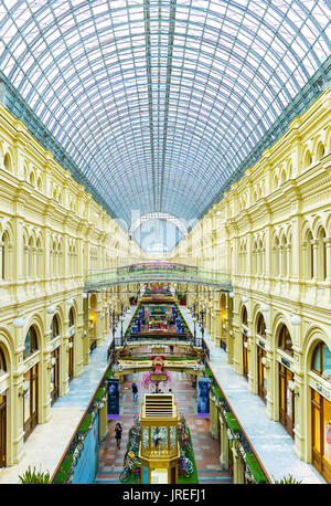 MOSCOW, RUSSIA - MAY 11, 2015: Galleries of GUM designed in popular passage style with glass ceilings, on May 11 - Stock Photo