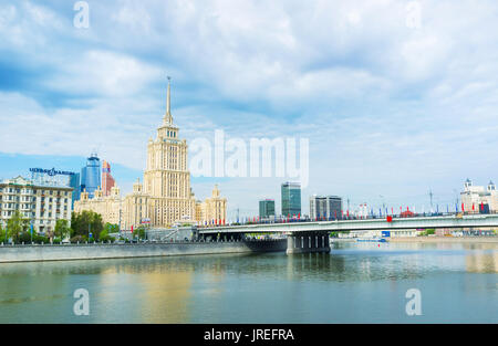 MOSCOW, RUSSIA - MAY 11, 2015: The Radisson hotel in Moscow located in one of the Stalin High-rise buildings, on - Stock Photo