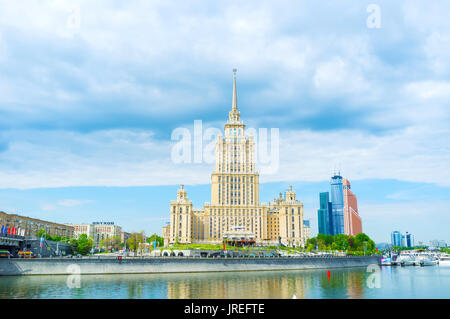 MOSCOW, RUSSIA - MAY 11, 2015: The five stars Radisson Royal Hotel in Moscow located in former Hotel Ukraina building, on May 11 in Moscow