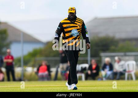 Easton, Portland, Dorset, UK.  4th August 2017.  Kirk Edwards of Lashings during the Portland Red Triangle match - Stock Photo
