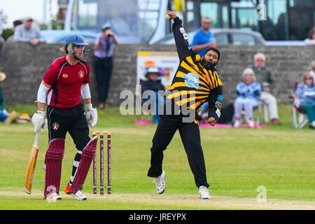 Easton, Portland, Dorset, UK.  4th August 2017.   Indian cricketer Wasim Jaffer during the Portland Red Triangle - Stock Photo