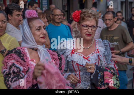 Madrid, Spain. 4th Aug, 2017. The traditional celebrations of Saint Cajetano begin in the typical Madrid neighbourhood - Stock Photo