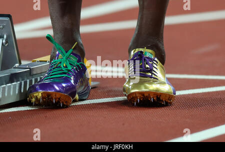 London, UK. 04th Aug, 2017. London, 2017-August-04. Usain Bolt's golden spikes at the IAAF World Championships London - Stock Photo