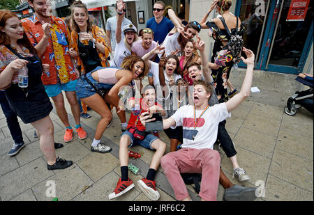 Brighton, UK. 5th Aug, 2017. Party goers enjoy themaselves as thousands take part in the Brighton and Hove Pride - Stock Photo