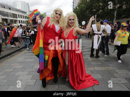 Belfast, Northern Ireland. 5th August 2017. Participants in the annual LGBT Pride Parade take to the streets in - Stock Photo