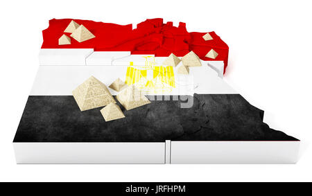 Egypt Map With Regions And Pyramids D Illustration Stock Photo - Map of egypt 3d