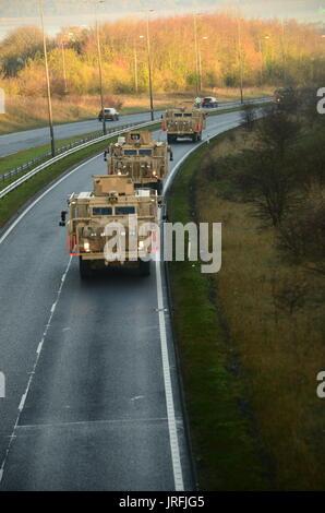 military convoy on motorway - Stock Photo