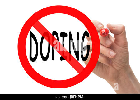 Hand drawing stop sign around the word doping. Conceptual. - Stock Photo