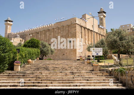 Entrance to the Tomb of the Patriarchs or the Sanctuary of Abraham, Hebron, Palestine, West Bank, Occupied Territories - Stock Photo