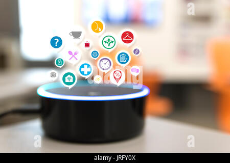 Home advisor , voice recognition , artificial intelligence device and internet of things concept. - Stock Photo