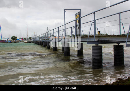Thnd. This modern design and construction is fabricated in galvanised steele modern jetty with a walkway to the - Stock Photo