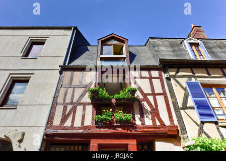 Rue (Street) Bourbonnoux,  lined with numerous half-timbered houses used to be the town's main road and remains - Stock Photo