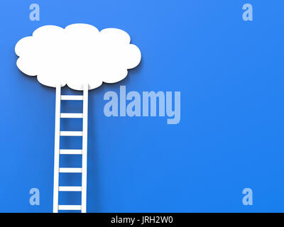 ladder of success concept with white clouds on blue background - Stock Photo