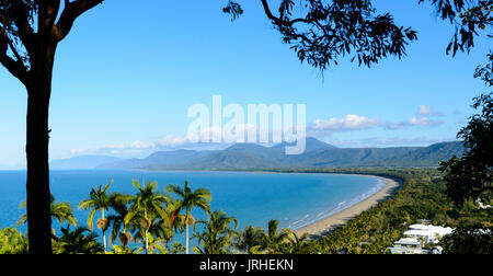 View over Trinity Bay in Port Douglas from Flagstaff Hill lookout, Far North Queensland, FNQ, QLD, Australia - Stock Photo
