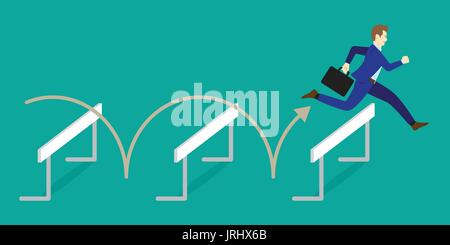 Business Concept As A Businessman Is Jumping Over The Hurdles. It Means Performing The Best Effort To Overcome Obstacles For Achieving The Target.