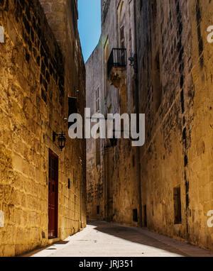 Historic Road. Typical road in Mdina, Malta. - Stock Photo