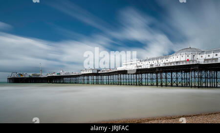 Long exposure of the Palace Pier in Brighton, East Sussex, England - Stock Photo
