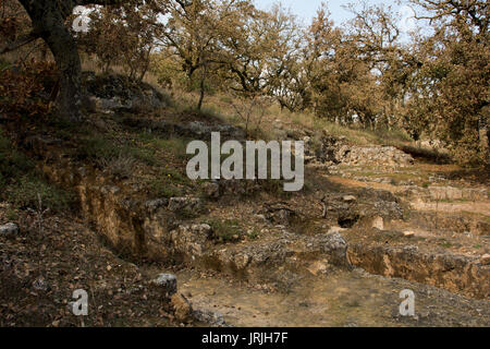 The nekropolis of Armeni was a late Minoan cemetery in an oak tree forest in the mountains of Crete with over 230 - Stock Photo