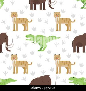 Vector flat style colorful seamless pattern with dinosaurs. - Stock Photo