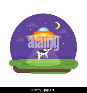 Vector flat style illustration of alien ship truing to abduct a cow at night. Isolated on white background. Stock Photo