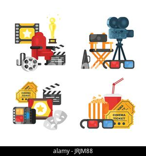 Vector flat style movie design set of concept with cinema icons. Icon for web. Isolated on white background. - Stock Photo