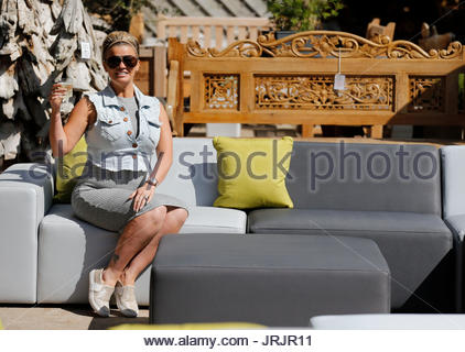 kerry katona visits garden furniture centre at yew tree farm craft centre in