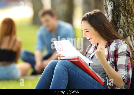 Excited student checking an approved exam sitting on the grass in a park with unfocused people in the background - Stock Photo