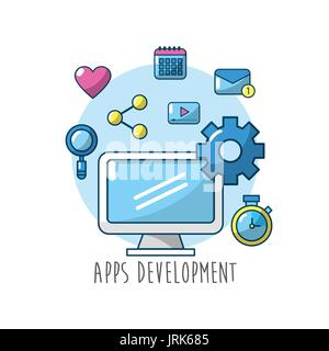 technology computer with apps connection element - Stock Photo