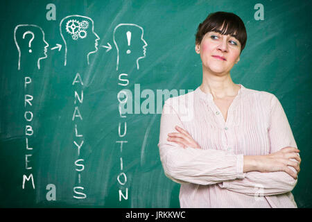 Woman smiles writes on a blackboard the concept of strategy - Stock Photo