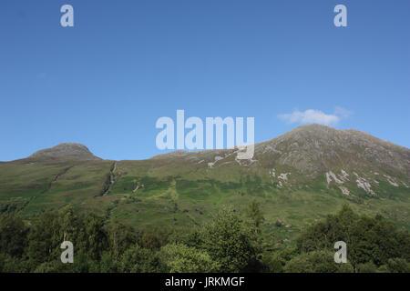 Scotland. Highlands. Glen Coe. View towards Pap of Glencoe and Sgorr nam Fiannaidh. - Stock Photo