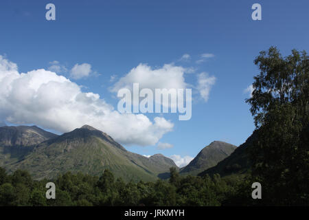 Scotland. Glen Coe. View towards Bidean Nam Bian with Aonach Dubh a' Ghlinne. - Stock Photo