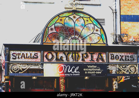 DUBLIN, IRELAND - July 15th , 2017: detail of the Olympia Theatre in Dame Street in the Temple Bar district of Dublin, - Stock Photo