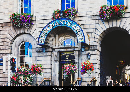 DUBLIN, IRELAND - July 15th , 2017: detail of the historical Merchants Arch in the Temple Bar district in Dublin, - Stock Photo