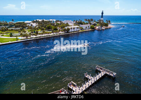 Florida Hillsboro Inlet Lighthouse Atlantic Ocean aerial overhead view bird's eye above - Stock Photo