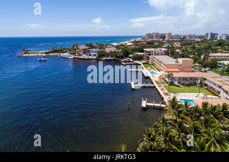 Pompano Beach Florida Hillsboro Inlet Atlantic Ocean aerial overhead view bird's eye above hotels motels - Stock Photo