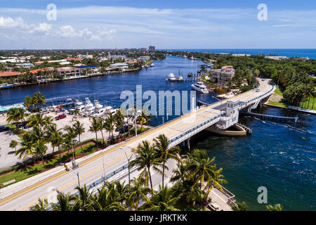 Pompano Beach Florida Hillsboro Beach Lighthouse Point Hillsboro River Inlet Bridge Highway A1A aerial overhead - Stock Photo