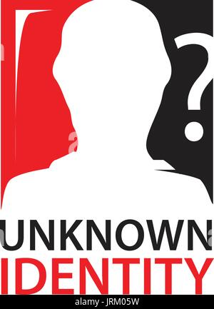 unknown identity sign with silhouette of a person within rectangle with question mark - Stock Photo