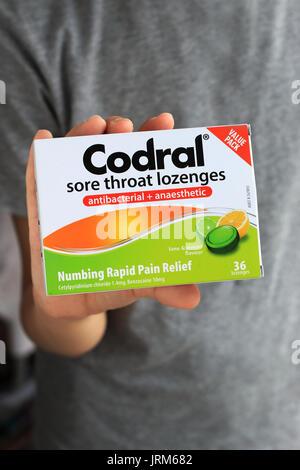 Codral Sore Throat lozenges - Stock Photo