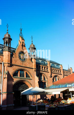 One of the entrances to Hala Targowa, Gdansk's Market Hall, which was built in the late 19th century. - Stock Photo
