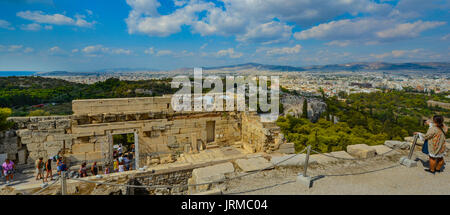 View of the Mediterranean sea, Areopagus Hill, the ancient agora and the city of Athens from the Acropolis - Stock Photo